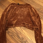 Brown zaful cropped corduroy style sweater  is being swapped online for free