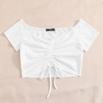 White, runched crop top is being swapped online for free